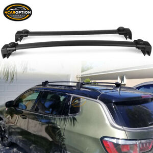 Fits 18 20 Jeep Compass Oe Style Aluminum Top Roof Rack Cross Bar Pair Black