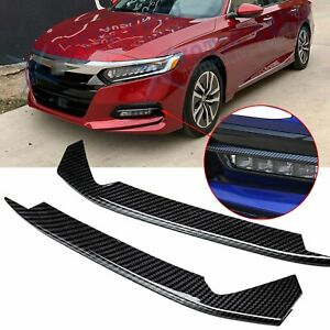 Carbon Fiber Style Fog Light Lamp Eyebrow Cover Trims For Honda Accord 2018 2020