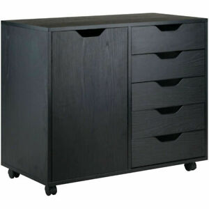 Wood Filing Cabinet 5 Drawers Plus 2 compartment Cabinet black Color Hot