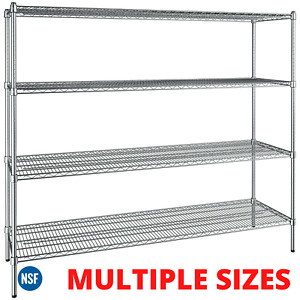 4 tier Rack Shelf Heavy Duty Chrome Metal Wire Commercial Shelving Nsf Any Size