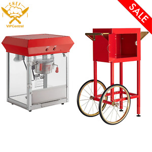 Popcorn Machine Popper Maker Theater 4 Oz Capacity Electric Vintage With Cart