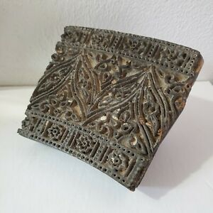 Antique Wood Hand Carved Textile Printing Fabric Block Stamp Primitive American