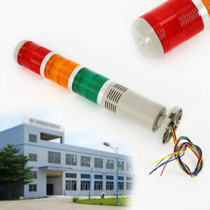 Ac 110v Red Green Yellow Led Stack Light Alarm Warning Signal Tower Lamp