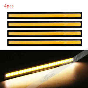 4x Yellow 12v Cob Led Drl Car Fog Daytime Running Driving Lights Vehicle Strips