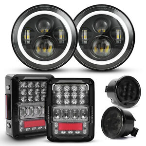 7 Round Led Halo Headlights Tail Lights Turn Signal Combo For Jeep Wrangler Jk