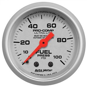 Autometer 4312 Ultra lite Mechanical Gauge For Fuel Pressure W Silver Dial Face