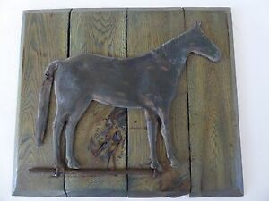 Antique Vintage Copper Horse Weathervane Folk Art Mounted Plaque