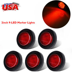 5pcs Red Round 9 Led Side Marker Clearance Light Trailer Tail Lamp 2 Inch