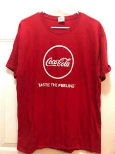 Coca-Cola Shirt  Size Large Red Fruit Of The Loom Taste the Feeling bust 21