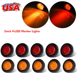 10 Pcs Amber Red 2 Round 9 Led Side Marker Clearance Light Truck Trailer Lamp