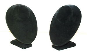 2 Black Velvet Necklace Pendant Chain Jewelry Bust Display Holder Stand 7 Tall