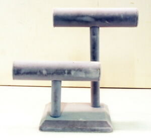Two Tier Gray Velvet Jewelry Display For Bracelets T bar Stand