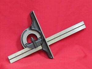 Starrett 12 Square With Protractor Head Satin Rule Very Good Condition