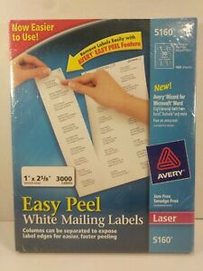 Avery 5160 Easy Peel Laser Address Labels 1 X 2 5 8 3000 Count New Sealed Box