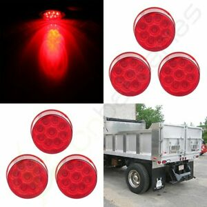 6x 2 Round Side Fender Marker Clearance Tail Light 9 Led Flower Petal Look Red