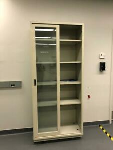 Tall Glass Storage Cabinets For Lab Use With Metal Frame