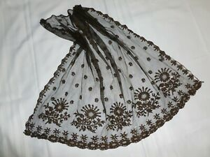 ANTIQUE LACE Hat Veil early 1800s Hand Made Brown Embroidered Lace~Mantilla