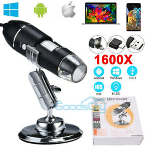 1600x 8led Digital Microscope Usb Endoscope Camera Android Mac Os Window Linux
