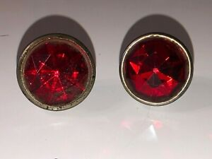 2 Vintage Red Glass Jewel Bicycle Car Motorcycle Old License Plate Reflectors 6