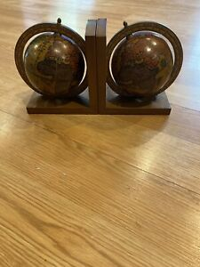 Lot Of 2 Vintage Small Desktop Wooden Globe Bookends Made In Italy