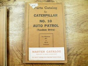 Cat Caterpillar No 10 Auto Patrol Grader Parts Manual Book 4k1 119 Tandem