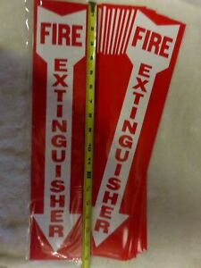 lot Of 10 Self adhesive 4 X 18 Vinyl fire Extinguisher Arrow Sign s new