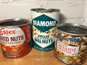 Vintage Tin Cans - Diamond Walnuts  Essex  Superior's Mixed Nuts - Lot of 3