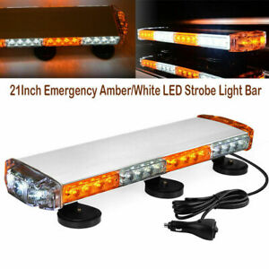 21inch Amber white Emergency Led Strobe Light Bar Magnetic Roof Mount 38w 12 24v
