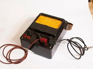 Antique Simpson Electric Voltage Ohm Amp Meter Leather Strap And Leadsmodel 260