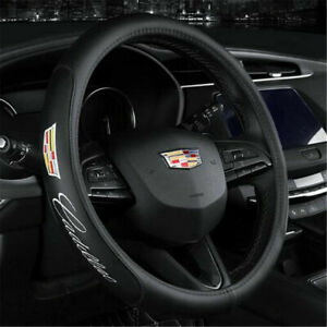 Brand New Cadillac Black Pvc Leather Steering Wheel Cover 15 Inches