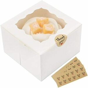 Moretoes 30 Packs 4x4x2 5 Inches White Bakery Boxes With Window Paper Gift Small