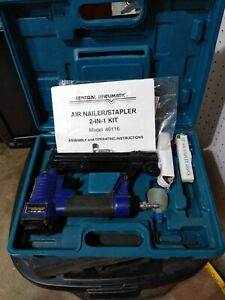Central Pneumatic 40116 2 in 1 Floor Air Nailer stapler Kit 60 100 Psi max
