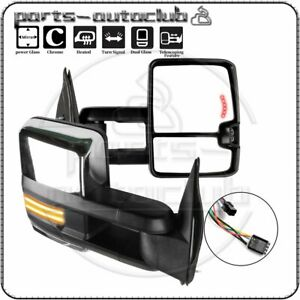 Chrome Power Heated Dynamic Led Signal Tow Mirrors For 99 02 Silverado Sierra