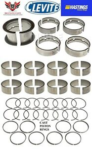 Chevy Chevrolet 283 57 67 Clevite Rod Main Bearings With Hasting Piston Rings