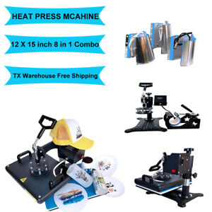 8 In1 Combo Heat Press Machine Digital Transfer Printing T shirt Hat Mug 12 x15