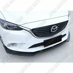 For 2014 2018 Mazda6 Mazda 6 Unpainted Blk Front Bumper Body Kit Spoiler Lip 3pc