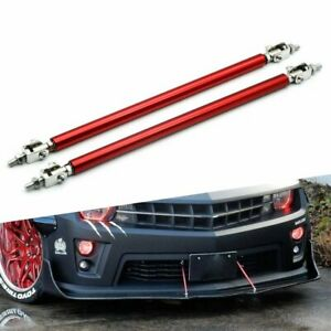 Red Bumper Lip Splitter Strut Rod Tie Support Bars Spoiler Adjustable Universal