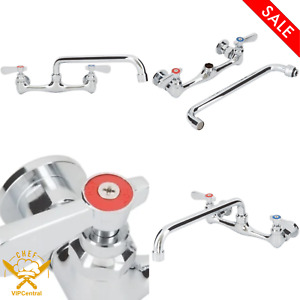 Wall Mount Commercial Sink Faucet 8 In Centers 12 In Swing Spout Washing Kitchen