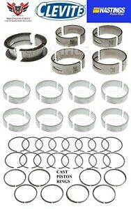 Ford 289 302 5 0 63 85 Hastings Piston Rings With Clevite Main Rod Bearings