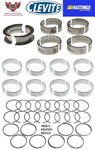 Ford 302 5 0 86 95 Hastings Moly Piston Rings With Clevite Main Rod Bearings