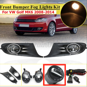 Front Bumper Fog Light Lamp Cover Switch Harness Kit For Vw Golf 6 Mk6