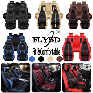 100 Pu Leather Car Seat Covers Front Back Full Set For 5 seats Auto Suv Truck