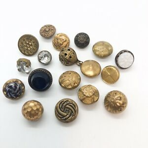 Antique Metal Dimi Buttons Glass Set In Metal Cheshire Jewel Brass Waistcoat