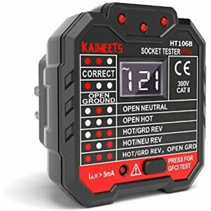 Kaiweets Outlet Tester 48 250v Receptacle With Voltage Display Gfci Cat Ii 7