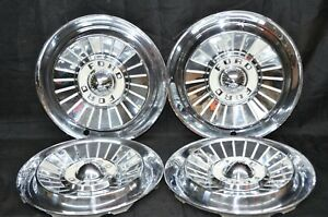 1957 Ford Fairlane Thunderbird Ranchero Hubcaps Wheel Covers Oem Set Of 4