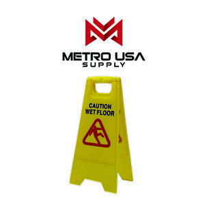 2pack Caution Wet Floor Sign Case Of Two Bright Yellow Plastic