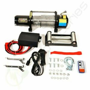 8000lb 12v Electric Winch For Jeep Truck Trailer Suv Wireless Remote Steel Rope