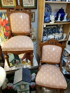 Set Of 2 Antique Eastlake Victorian Chairs Carved Wood Walnut 1800 S