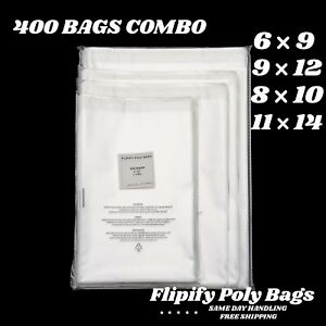 400 Clear Poly Bags Combo Pack With Suffocation Warning 6x9 8x10 9x12 11x14