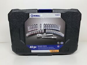 New Kobalt 40 Pc Mechanics Socket Wrench Set 72 Tooth Ratchet Sae Inch Metric